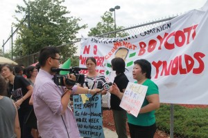 Workers protested this summer and called on Costco to boycott Sweatshop manufacturer Reynolds.